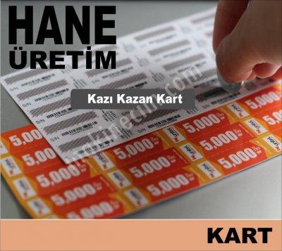 Satılık Sıfır KAZI KAZAN kart-bilet-kupon imalatında ekonomik çözümler üretiyoruz. Fiyatları İstanbul kazı kazan kartı,kazımalı kart,kazıkazan,şifreli kart,hediye kartı,çekiliş kartı