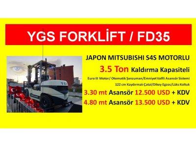 Satılık Sıfır 3.5 Ton Japon Mıtsubıshı Motor Ygs Forklift %1 Kdv 36 Ay Vade Fiyatları İstanbul ygs makine,ygs forklift,forklift,satılık forklift,kiralık forklift,beyaz forklift