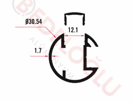Küpeşte Profilleri - - 2055 - 0.472 Kg/m