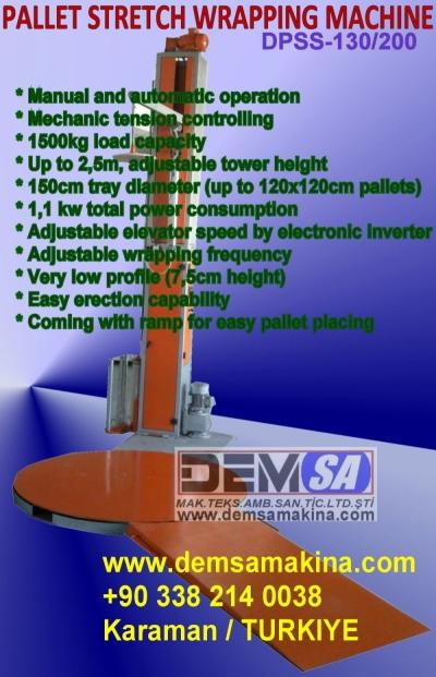 Satılık Sıfır Palet streç sarma makinası (PSS130) Fiyatları İstanbul paketleme makinesi,koli bantlama makinesi,palet streç sarma makinesi