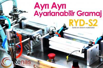 Satılık Sıfır RYD-S2 100 Yarı Otomatik Çift Nozullu Sıvı Dolum Makinası 5-100ml Fiyatları İstanbul sıvı dolum,dolum makinası,dolum makinesi,sıvı dolum makinası