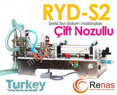 Satılık Sıfır RYD-S2 5000 Yarı Otomatik Çift Nozullu Sıvı Dolum Makinası 1000-5000ml Fiyatları İstanbul