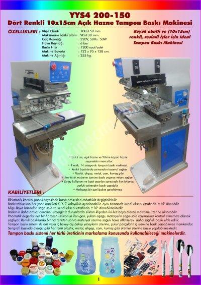Satılık Sıfır Yys4 200-150 Dört Renkli 10x15 Cm. Açık Hazne Tampon Baskı Makinesi Fiyatları İstanbul tampon baski makinesi
