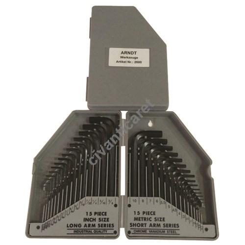 Satılık Sıfır ALMAN Allen Anahtar Seti No.2600 15 Parçalı Inç Ölçü, 15 Parçal Fiyatları İstanbul