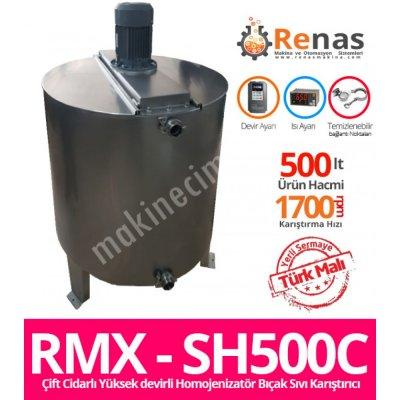 Satılık Sıfır RMX - SH500C Çift Cidarlı Yüksek Devirli Homojenizatör Bıçak Krem ve Sıvı Karıştırma Kazanı Fiyatları İstanbul meyve suyu doum,meyve sıkacağı,renas,sanayi dolum makinaları,madeni yağ,hızlı dolum,otomatik dolum makinaları