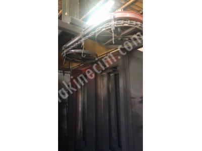 Satılık 2. El Konveyörlü toz boya tesisi Fiyatları İstanbul Elektrostatik Toz Boya fırını U tip VEB konveyörlü 20 m çiftli kabin (4 filtreli)