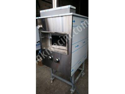 Seyyar portatif taş fırın krom kaplama özel üretim 60x70 iç pişirme alanı
