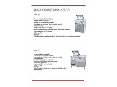Satılık Sebze Yıkama Ve Kurutma Makinesi Swa 75