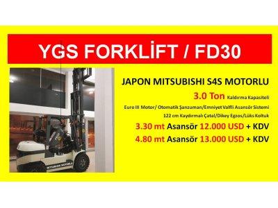 Satılık 2. El 3 Ton Japon Mıtsubıshı Motor Ygs Forklift %1 Kdv 36 Ay Vade Fiyatları İstanbul ygs forklift,kiralık forklift,satılık forklift